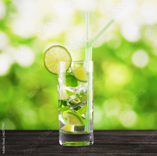 Mojito cocktail on nature background