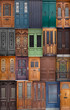 20 different European front entrance doors.  set of colorful woo