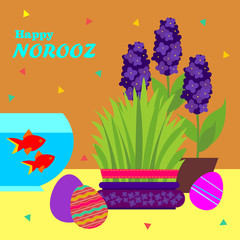 Happy Norooz . Persian New Year  greeting card template