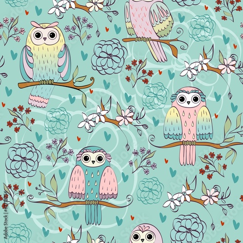 illustration with owl sitting on the branches - 62718756