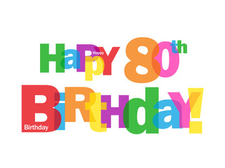 """HAPPY 80TH BIRTHDAY"" CARD (eighty party celebration congrats)"