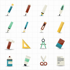 Drawing painting tools icons and stationery set with white