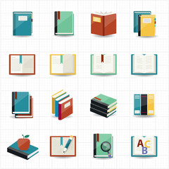 Books icons and library icons with white background