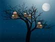owls at night vector