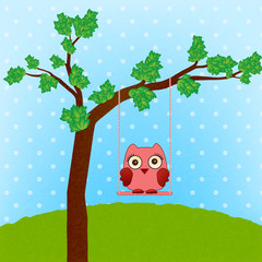 cute owl on swing