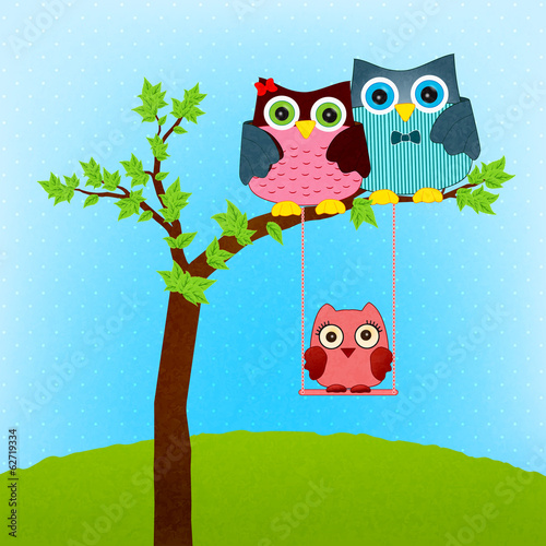 owl family vector