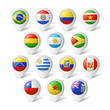 Map pointers with flags. South America.