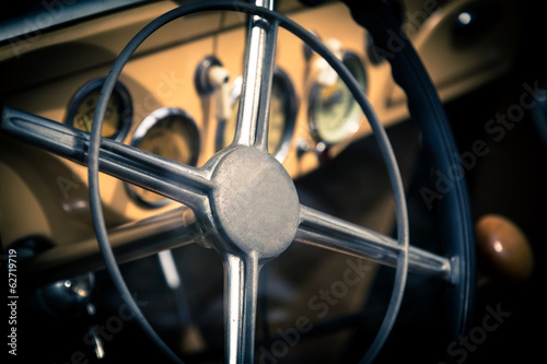 Foto op Canvas Scooter Interior of old vintage car
