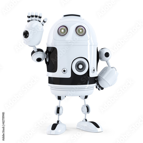 Cute robot waving hello