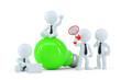 Happy business team with green light bulb. Business concept
