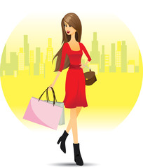 Girl shopping in city