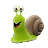 3d funny character, happy cartoon snail