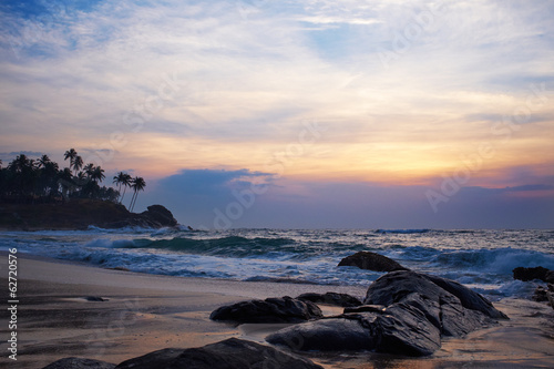 beautiful vivid sunrise  on Sri Lanka beach.