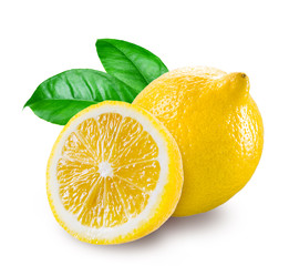 Fresh lemon with a half isolated on white background