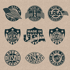 Made in America (USA) - set of stamps, labels.