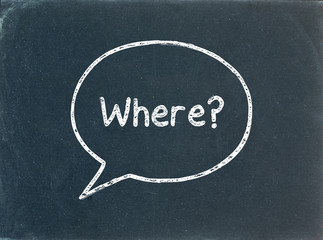 """WHERE?"" Speech Bubble on Blackboard (directions map itinerary)"