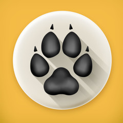 Dog paw, long shadow vector icon