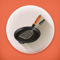 Frying pan and spatula, long shadow vector icon