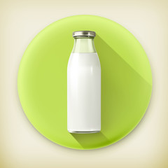 Milk bottle, long shadow vector icon