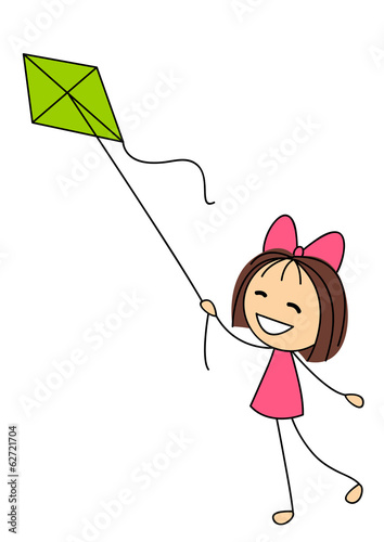 Cute little girl with kite