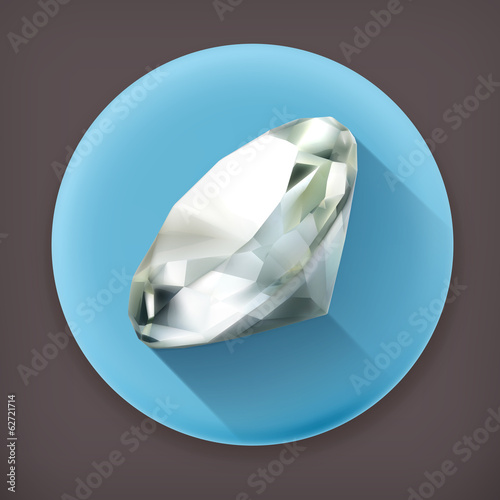 Diamond, long shadow vector icon
