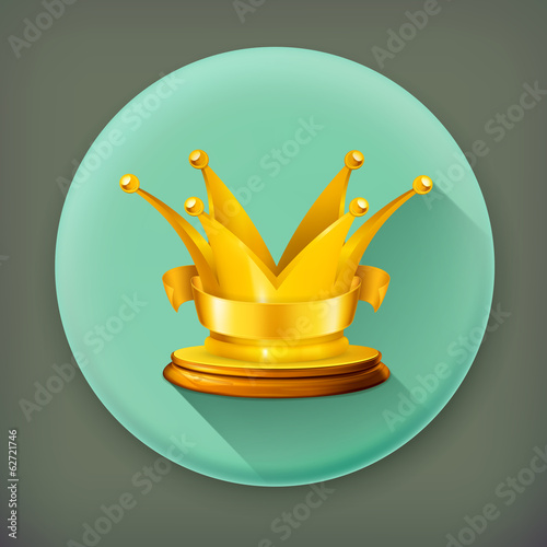 Golden crown, long shadow vector icon