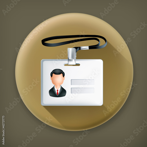 Name Tag, long shadow vector icon
