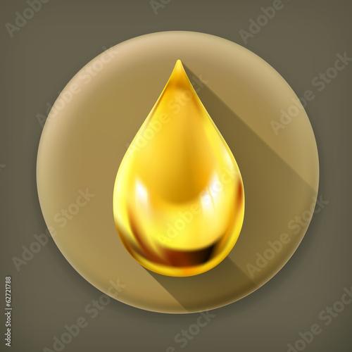 Oil drop, long shadow vector icon
