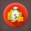 Stacks of coins and money bag, vector icon