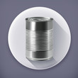Tin can, long shadow vector icon