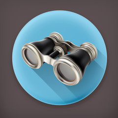Vintage binoculars, long shadow vector icon