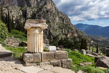 Ancient temple column, Delphi, Greece