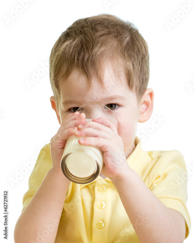 little child drinking yogurt or kefir isolated