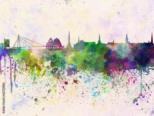 Riga skyline in watercolor background