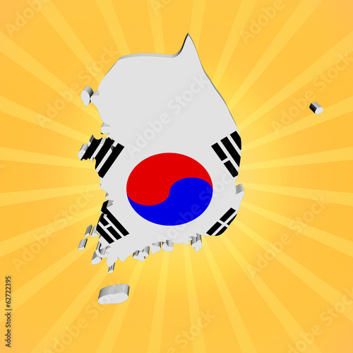 South Korea map flag on sunburst illustration