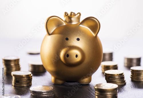 Goldenes Sparschwein und Münzen