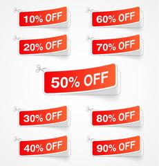 Discount labels. Vector illustration