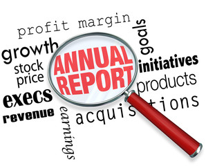 Annual Report Magnifying Glass Words Research Financial Filing