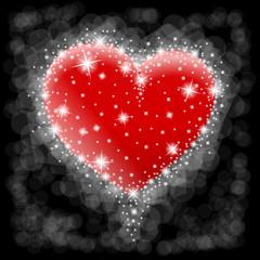 serce i czarne tło