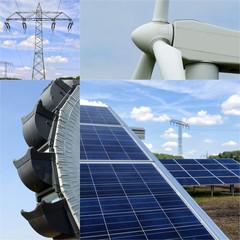 Collage Energieerzeugung und Energiewende