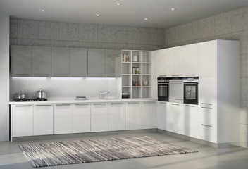 White glossy kitchen in an interior