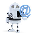 Robot holding an email symbol. Isolated. Contain clipping path