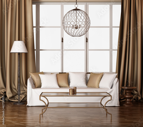 Elegant interior, gold living room with white sofa
