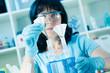 female scientist make maxiprep in the lab