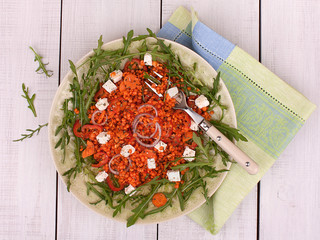 Warm lentil salad with roasted red pepper and feta