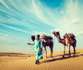 Cameleer with camels in dunes of Thar desert. Raj