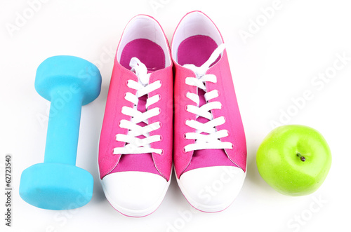 Sneakers and sport equipment. Conceptual photo of fitness