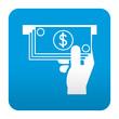 Etiqueta tipo app azul simbolo cajero automatico