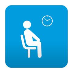 Etiqueta tipo app azul simbolo sala de espera