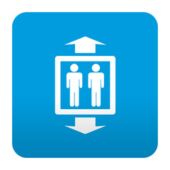 Etiqueta tipo app azul simbolo ascensor